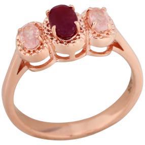 Ring 925 Sterling Silber rosé vergoldet Rubin