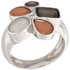 Ring 925 Sterling Silber rhodiniert Mondstein