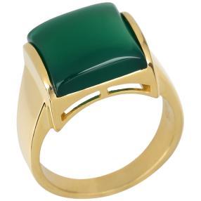 Ring 925 Sterling Silber vergoldet Achat grün