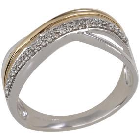 Ring 585 Weißgold/Gelbgold Brillanten