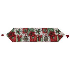 Gobelin-Tischläufer Weihnachten rot-grün