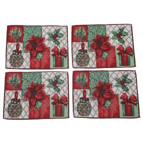 Gobelin-Platzset Weihnachten 4tlg. rot-grün