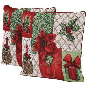 Gobelin-Kissen Weihnachten 2tlg. rot-grün