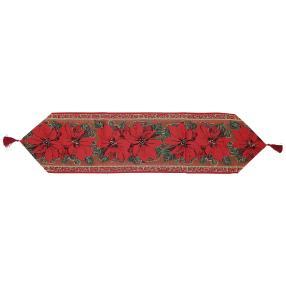 Gobelin-Tischläufer Weihnachtsstern rot
