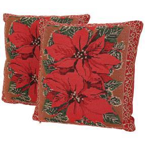 Gobelin-Kissen Weihnachtsstern 2-teilig rot