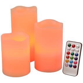 LED-Kerzenset Farbwechsel 3-teilig, creme