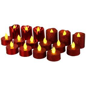 LED-Kerzen Glitter 16-teilig, rot