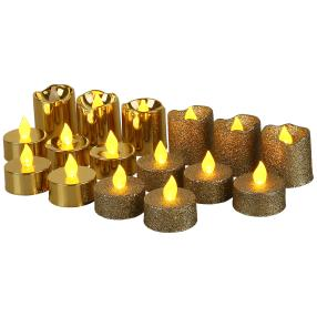 LED-Kerzen Glitter 16tlg. gold