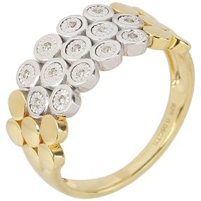 Ring 925 Sterling Silber bicolor Brillanten