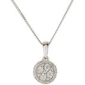 Anhänger Kette 925 St. Silber rhodiniert Diamanten