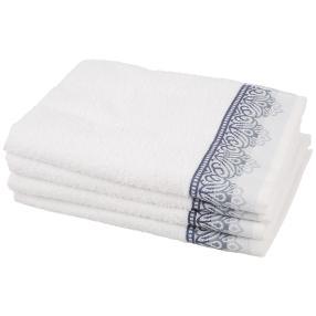 Handtuch Ornament 4-teilig, weiß/blau