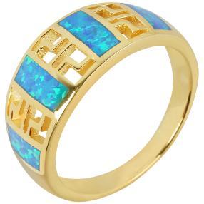 Ring 925 St. Silber vergoldet Opal synthetisch