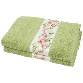 Duschtuch Blumen 2tlg. grün