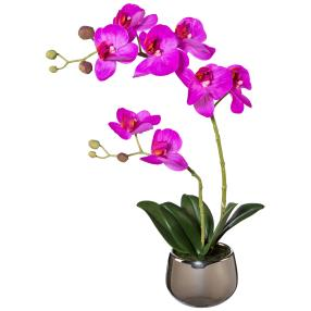 Orchidee lila real-touch 37cm im Silbertopf