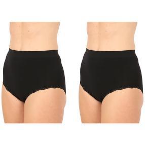 2erPack Damen-Seamless-Taillenslip, Spitze schwarz