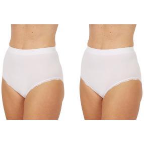 2erPack Damen-Seamless-Taillenslip, Spitze weiß