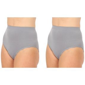2erPack Damen-Seamless-Taillenslip, Spitze grau