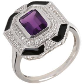 Ring 925 Sterling Silber rhodiniert Amethyst