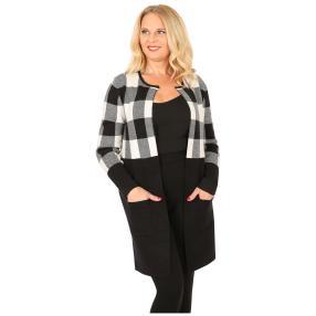 Oversize-Karo-Jacke mit Schließe schwarz/weiß