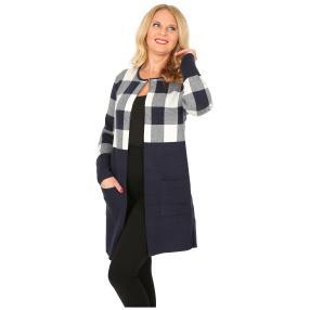 Oversize-Karo-Jacke mit Schließe marine/offwhite