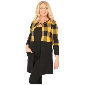Oversize-Karo-Jacke mit Schließe schwarz/gelb
