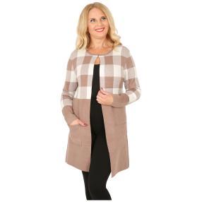 Oversize-Karo-Jacke mit Schließe camel/offwhite
