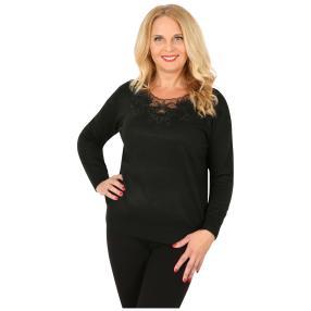 Pullover mit Spitze & Strass verziert  schwarz