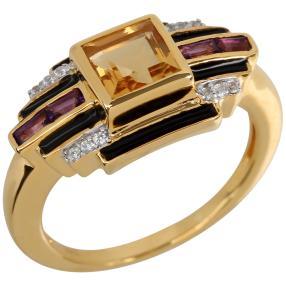 Ring 925 Sterling Silber vergoldet Citrin
