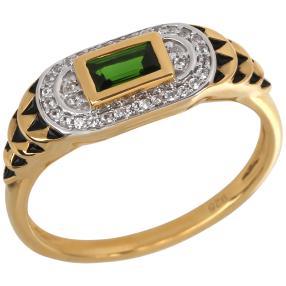 Ring 925 Silber vergoldet Chromdiopsid
