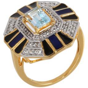 Ring 925 St. Silber vergoldet Sky Blue Topas beh.