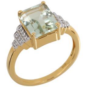 Ring 925 Sterling Silber vergoldet Prasiolith