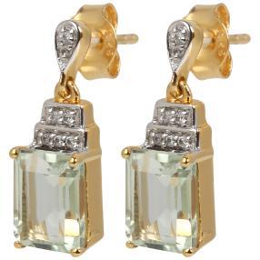 Ohrhänger 925 Sterling Silber vergoldet Prasiolith
