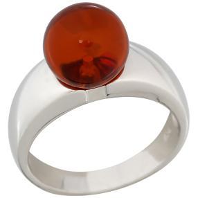 Ring 925 Sterling Silber rhodiniert Bernstein