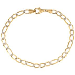 Figaro-Armband 750 Gelbgold diamanrtiert
