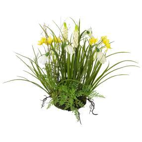 Frühlingsmix im Erdballen, gelb/weiß, ca. 30 cm