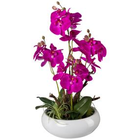 Orchideen-Arrangement lila, in Keramikschale