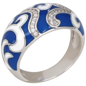 Ring 925 Sterling Silber verg. Emaille Zirkonia