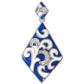 Anhänger 925 St. Silber blau Emaille Zirkonia