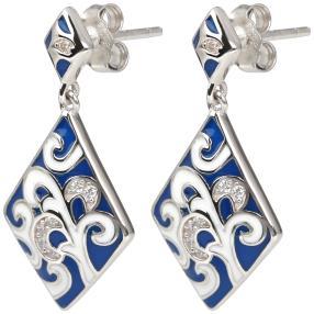 Ohrhänger 925 Sterling Silber blau Emaille
