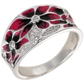 Ring 925 Sterling Silber Emaille Zirkonia