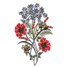 Plauener Spitze Fensterbild Blumen & Bienen
