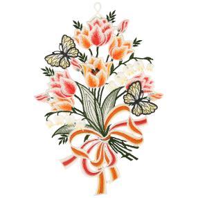 Plauener Spitze Fensterbild Blumengebinde