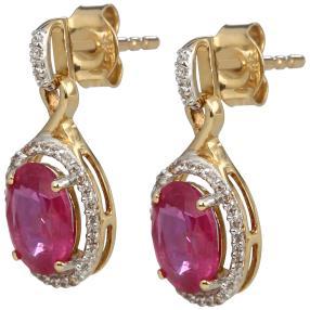 Ohrhänger 585 Gelbgold Saphir pink behandelt
