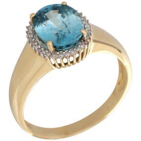 Ring 585 Gelbgold, Zirkon blau, Gr. 21