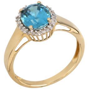Ring 585 Gelbgold, Zirkon blau