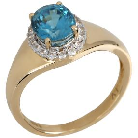 Ring 585 Gelbgold Zirkon blau