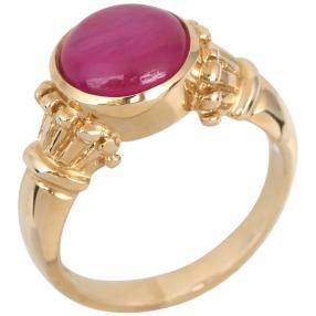 Ring 375 Gelbgold Rubin Cabochon behandelt