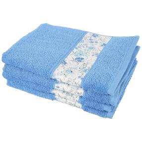 Handtuch Blumen 4-teilig blau