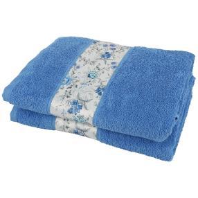 Duschtuch Blumen 2-teilig blau