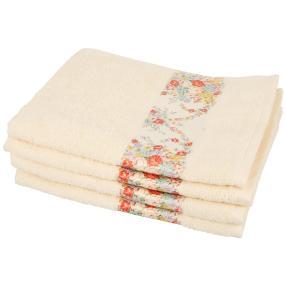 Handtuch Blumen 4-teilig, creme